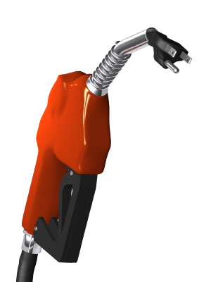 electric car plug coming out of a gas pump